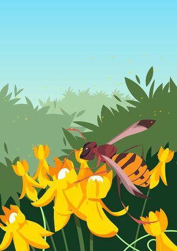 Le frelon sur un vecteur de fleur