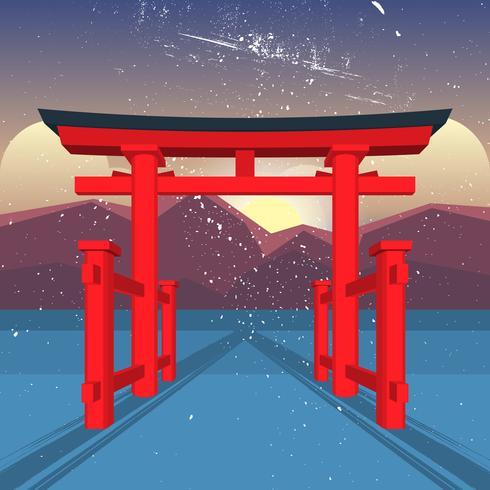 Porte flottante du sanctuaire d'Itsukushima vecteur