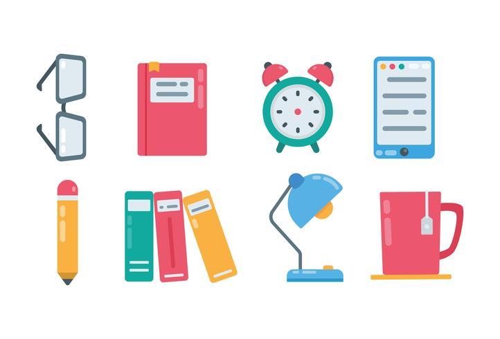 Icônes de lecture de livre coloré vecteur