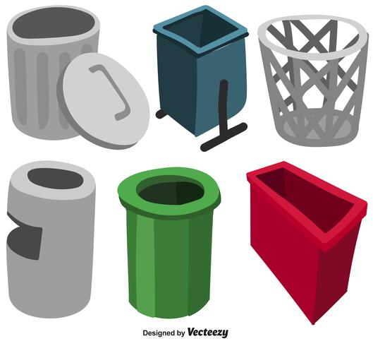 Vector Set d'icônes plat panier de déchets