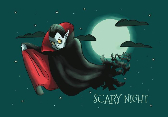 Effrayant, vampire dracula, voler, à, sombre, ciel, à, lune, et, nuages, vecteur