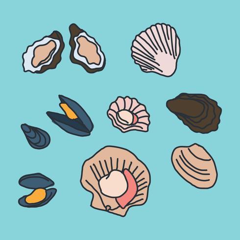 Doodles mollusques vecteur