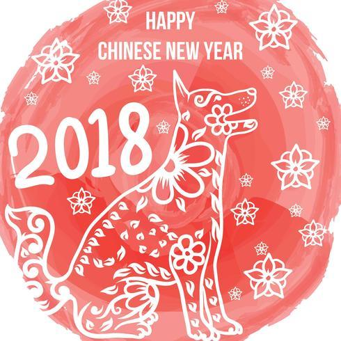 Nouvel an chinois du chien vecteur