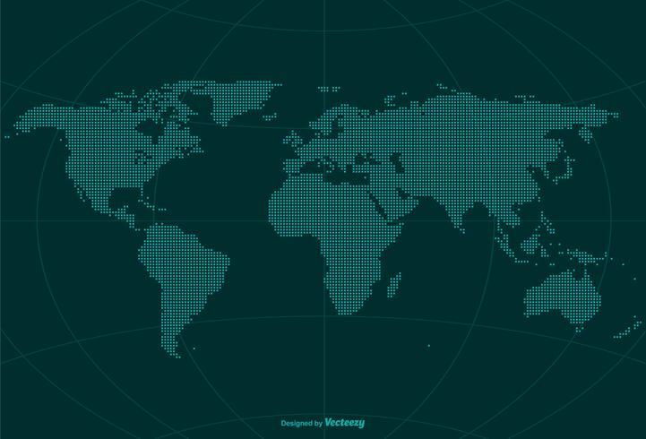 Pixel World Globe Carte Vecteur