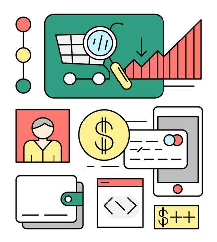 Linear Online Shopping Illustration vectorielle vecteur