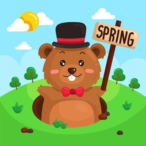 Gopher mignon signalant le vecteur de printemps