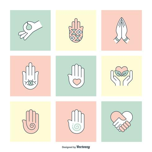 Charité et guérison des mains remplies Icônes de contour vecteur
