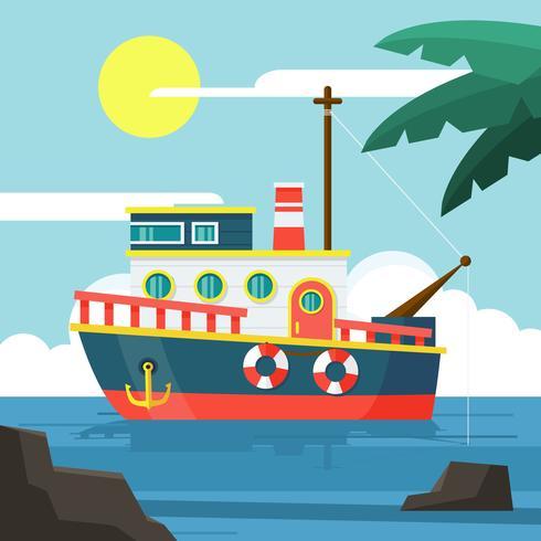 Trawler Illustration dans un design plat vecteur