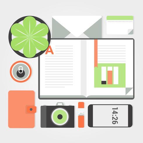 Éléments de bureau gratuits de Vector Design plat