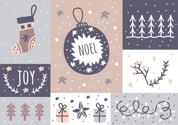 Carte de Noël et ensemble d'autocollants vecteur