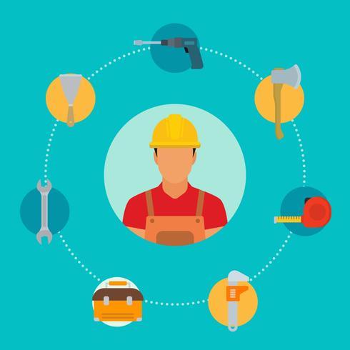 Vecteurs de travailleur de construction plate vecteur