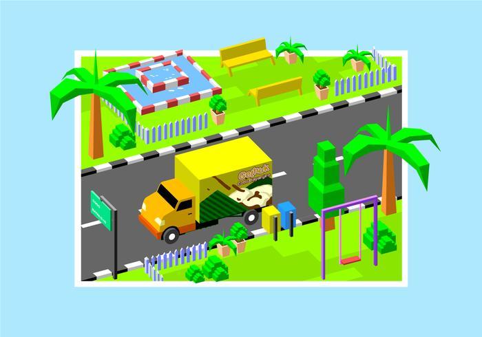 Klepon isométrique Moving Van vecteur libre
