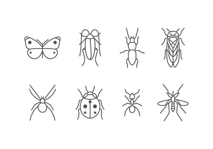 Jeu d'icônes d'insectes vecteur