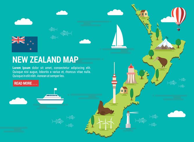 Illustration de carte de Nouvelle-Zélande vecteur