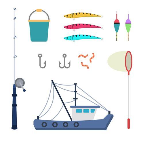 Vecteurs de pêche à plat vecteur