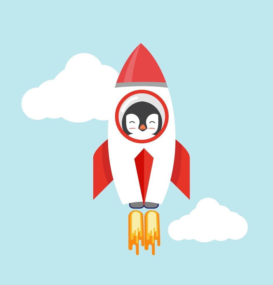 pingouin dans une fusée volant dans le ciel vecteur
