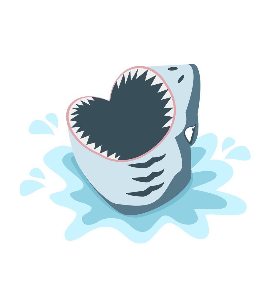 Requin effrayant avec une grande bouche ouverte avec des dents pointues vecteur
