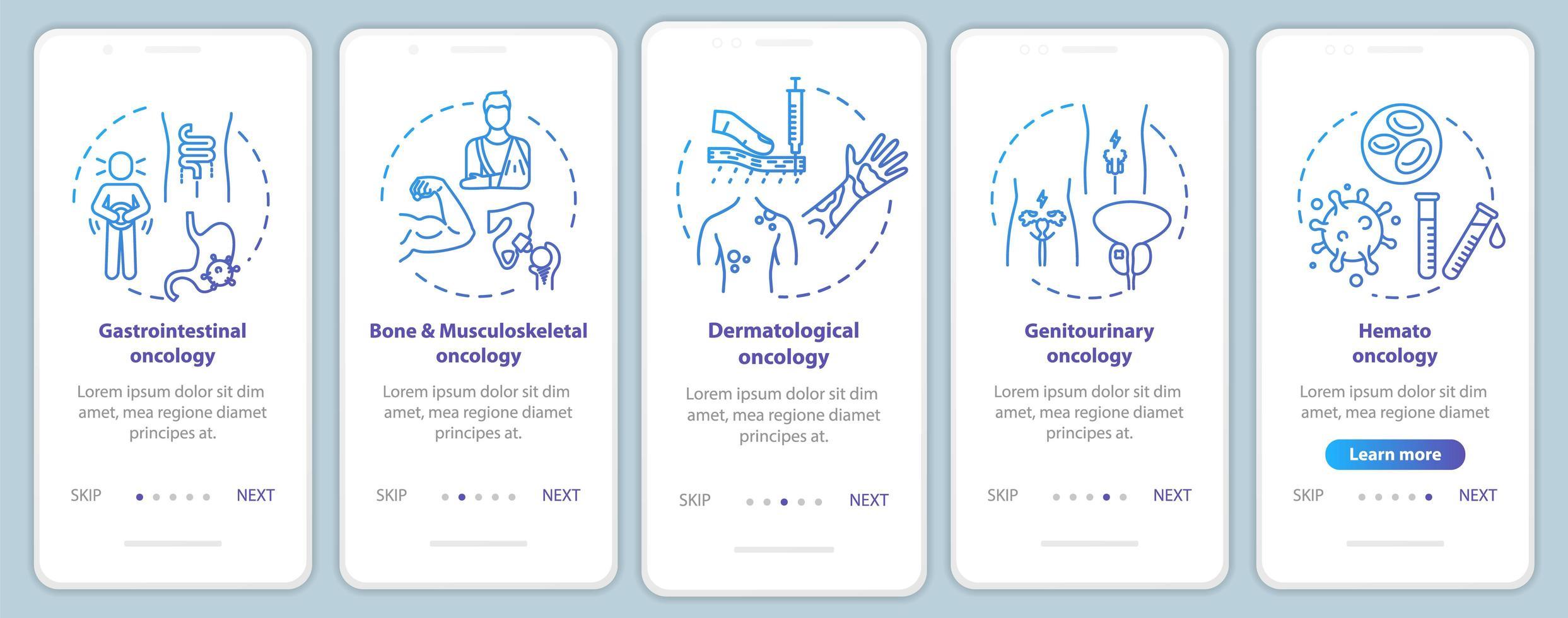 Écran de la page de l'application mobile d'intégration d'oncologie vecteur