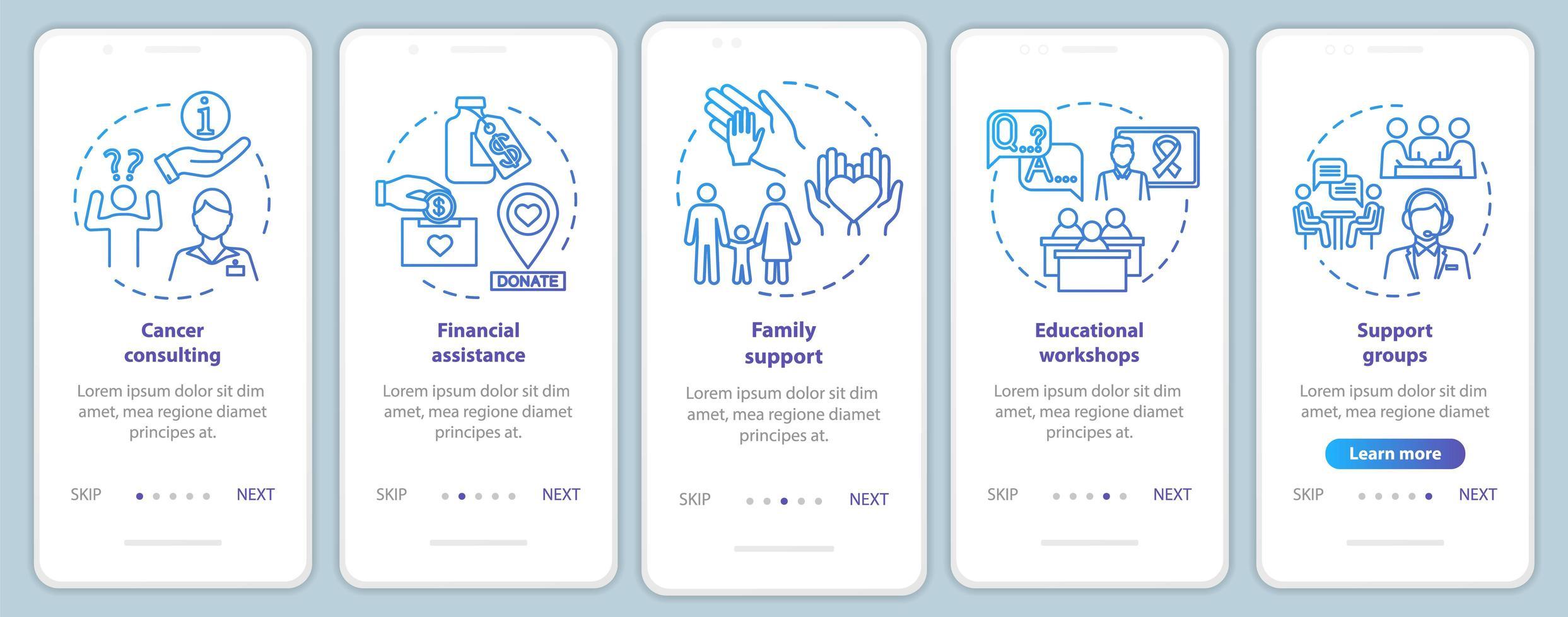 Aide sur l'oncologie écran de la page de l'application mobile d'intégration vecteur