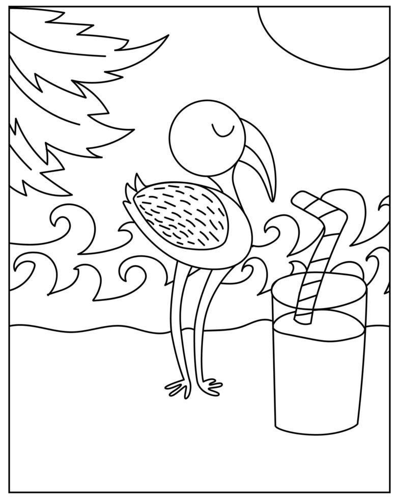 Coloriage avec oiseau flamant rose dans un style doodle vecteur