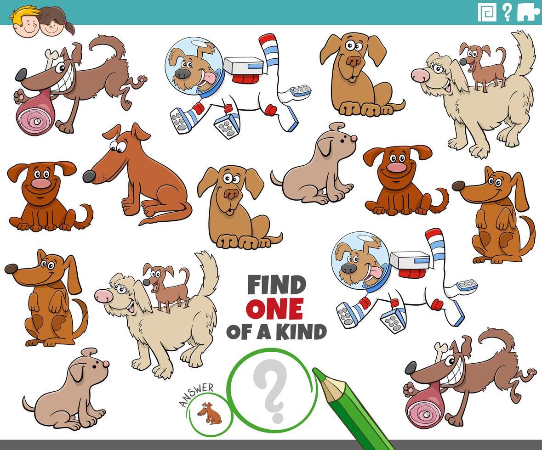 unique en son genre avec des chiens de dessin animé vecteur