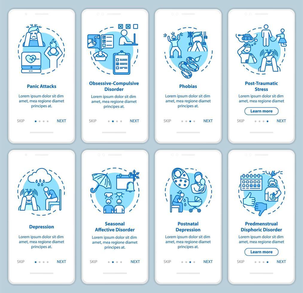 écran de la page de l'application mobile d'intégration des troubles mentaux vecteur