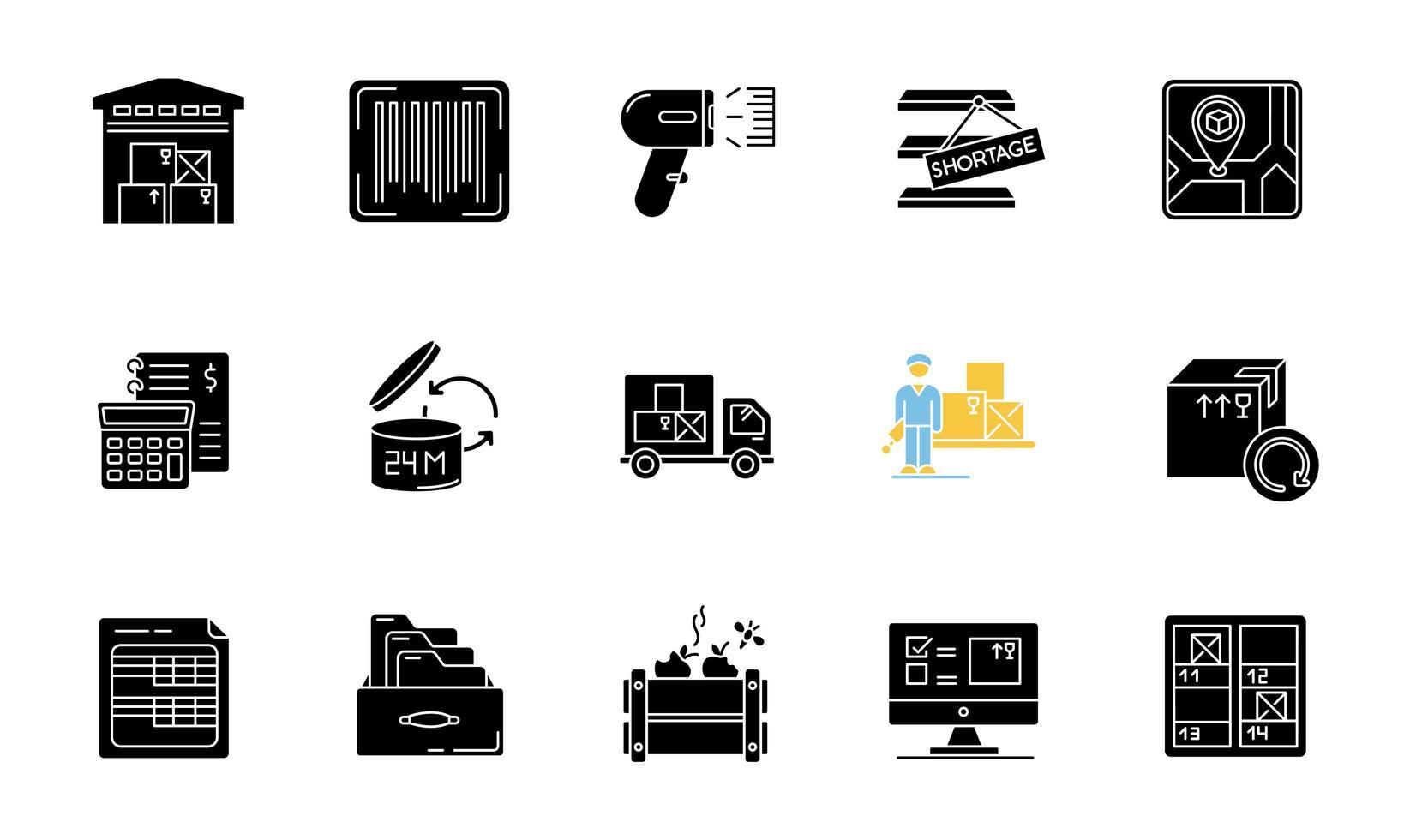ensemble d & # 39; icônes de glyphe noir de suivi des stocks vecteur
