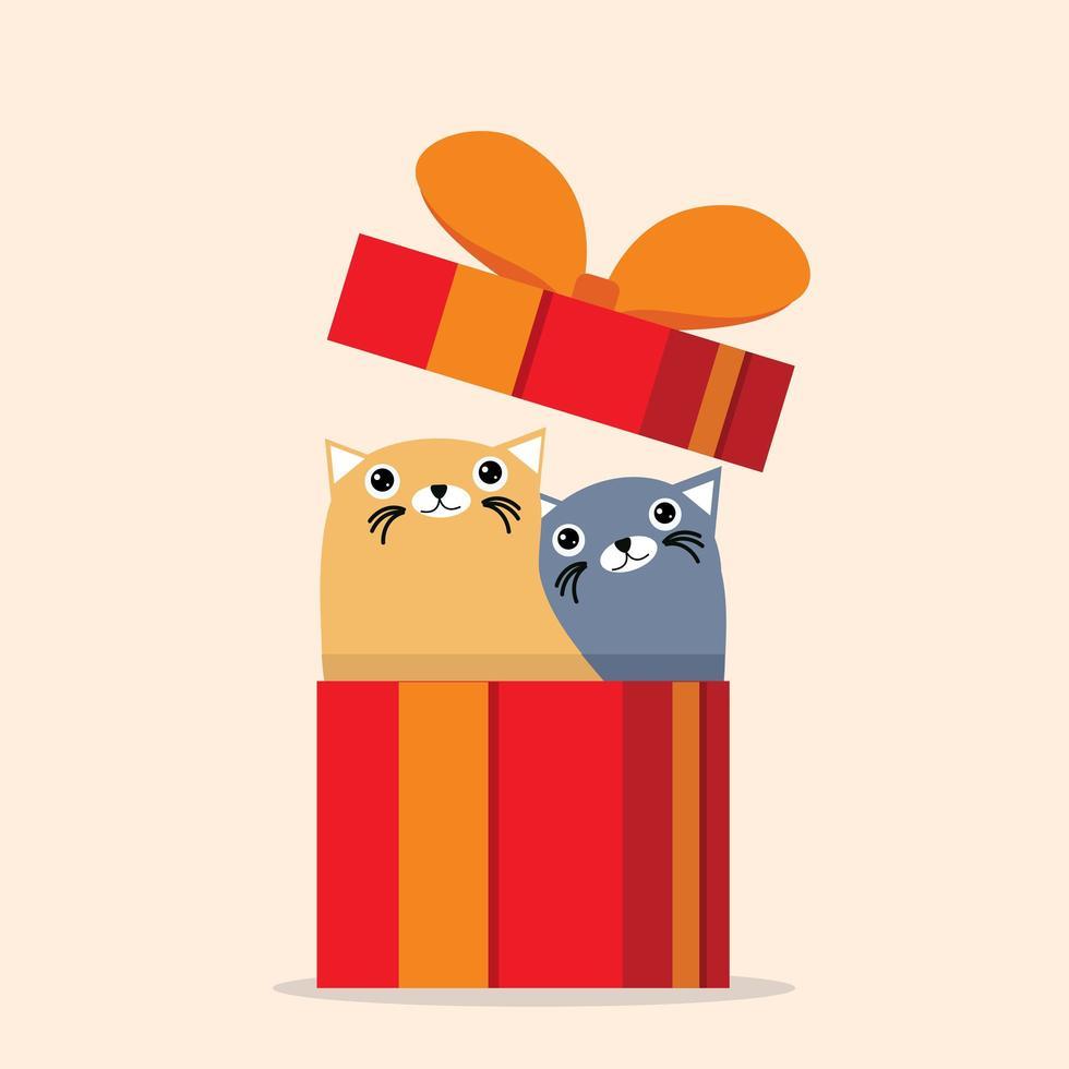 chats mignons assis dans une boîte cadeau vecteur
