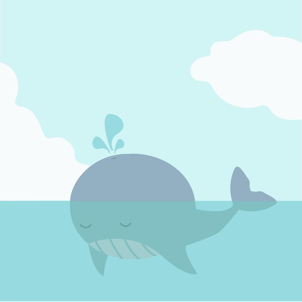 jolie grosse baleine flottant dans la mer vecteur
