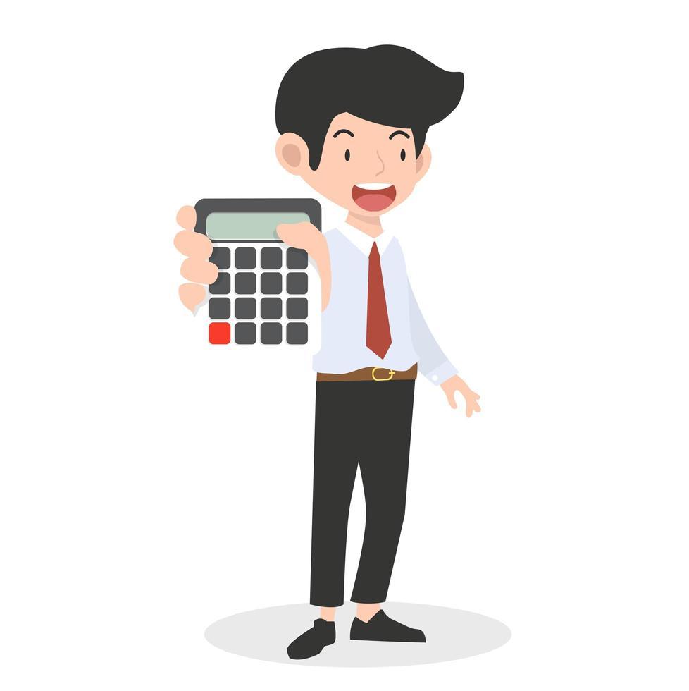 heureux, homme affaires, tenue, a, calculatrice vecteur
