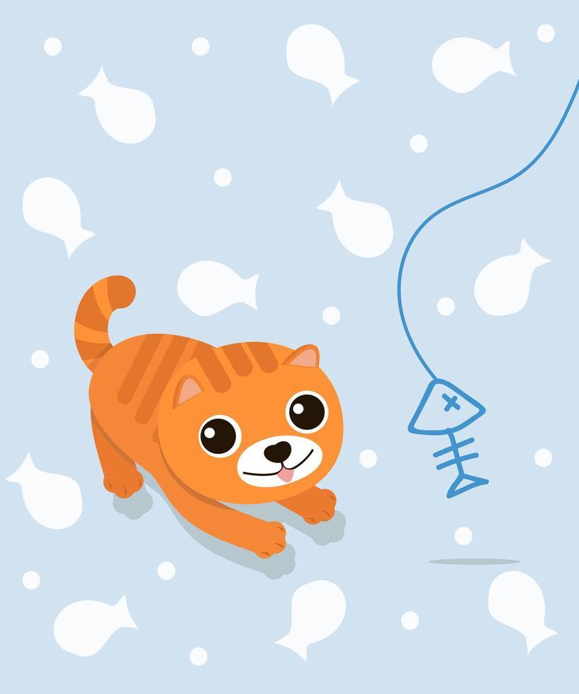 un chat mignon avec une arête de poisson vecteur