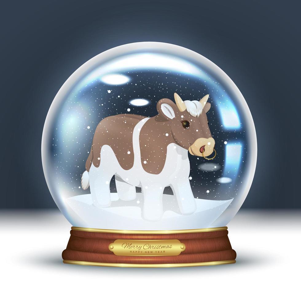 taureau dans une boule à neige vecteur