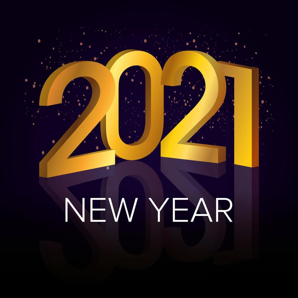 bonne année, célébration de l'affiche d'or 2021 vecteur