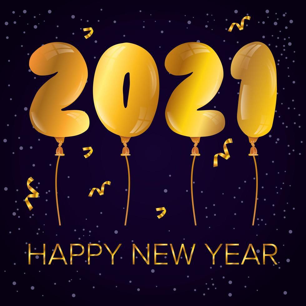 bonne année, affiche de célébration 2021 avec des ballons vecteur