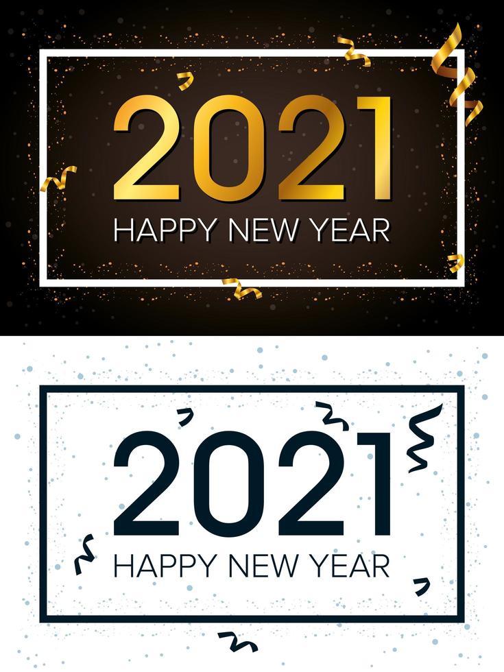 bonne année, jeu de cartes de célébration 2021 vecteur