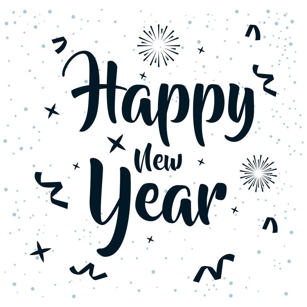 bonne année, affiche de célébration 2021 avec des confettis vecteur