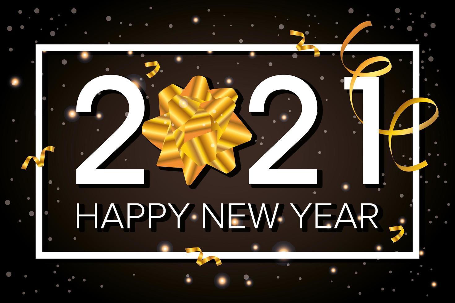 bonne année, carte de célébration 2021 avec noeud doré vecteur