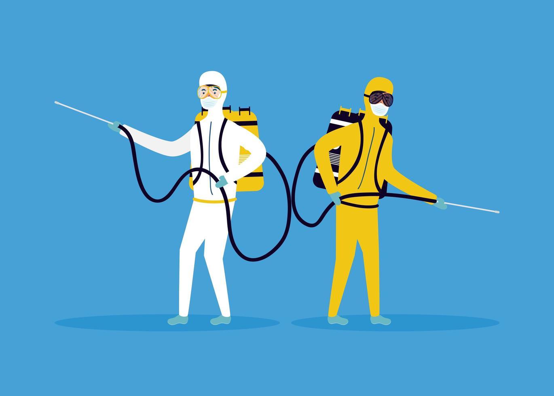 prévention des coronavirus avec des personnes sur la désinfection des combinaisons de matières dangereuses vecteur