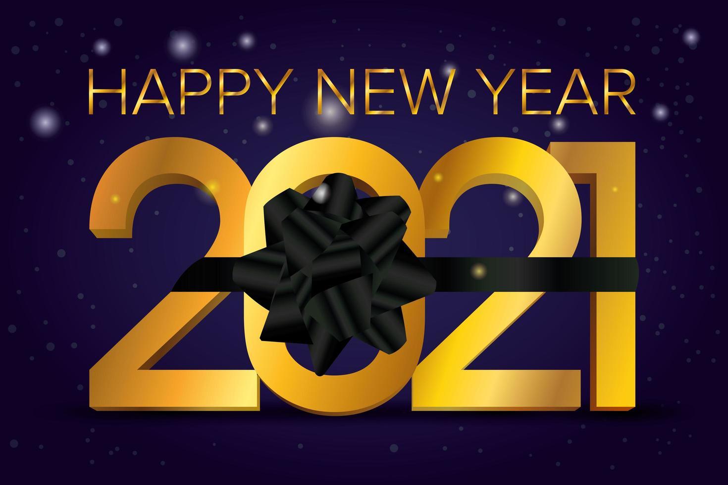 bonne année, carte de célébration 2021 avec ruban noir vecteur