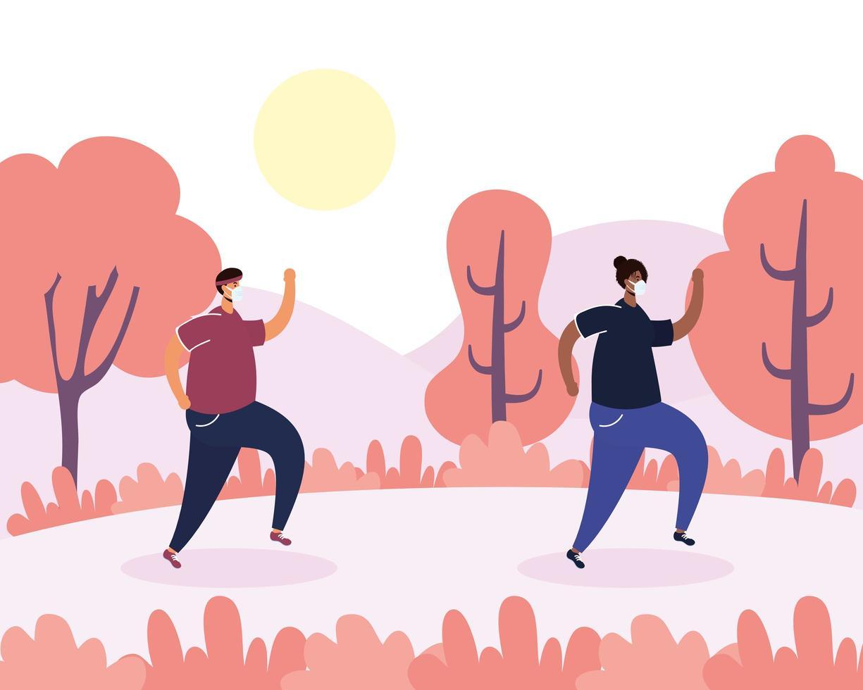 personnes marchant dans le parc avec distance sociale vecteur