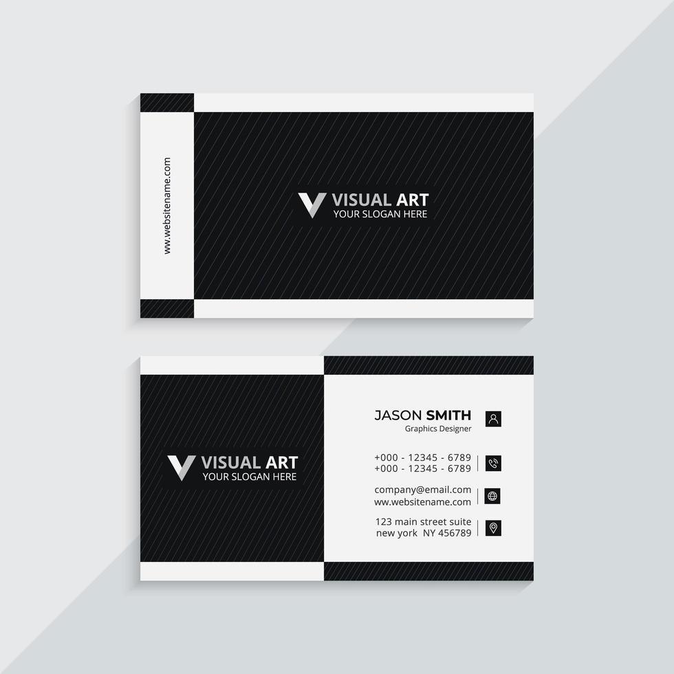 carte de visite moderne noir et blanc vecteur