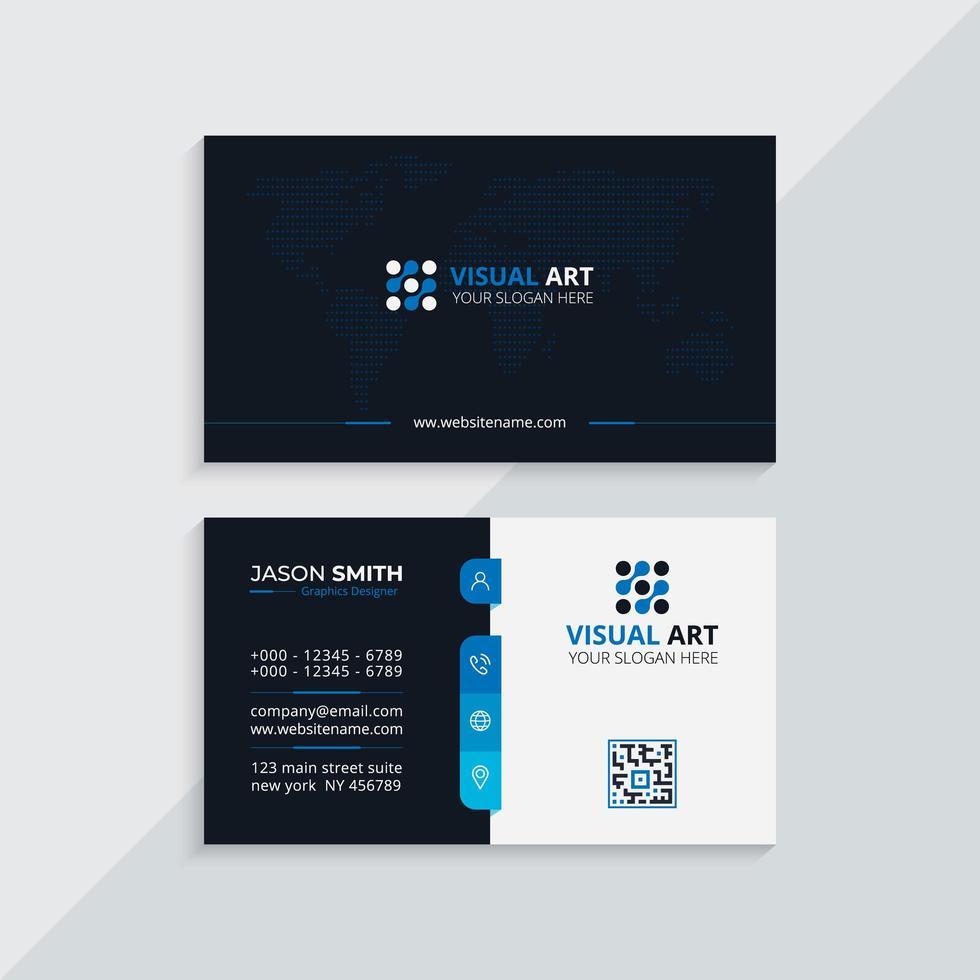 carte de visite professionnelle bleue vecteur