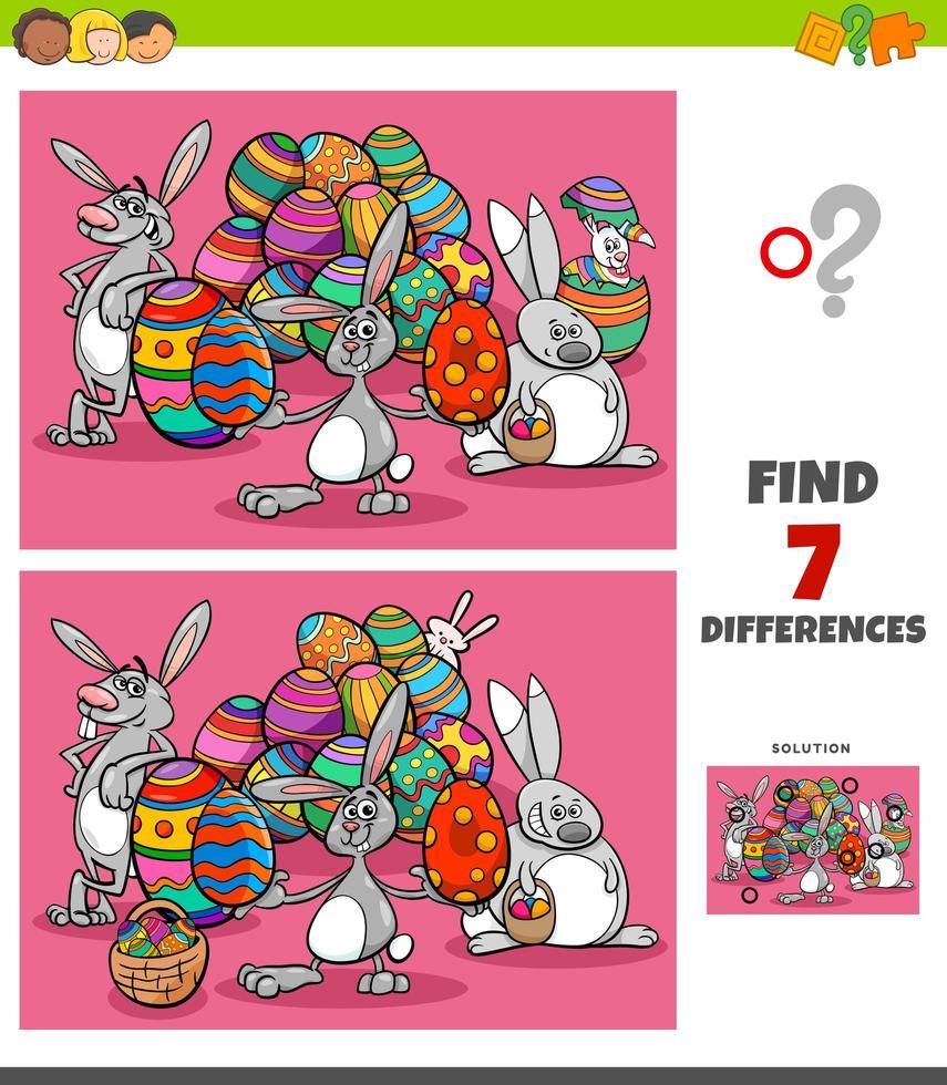 tâche de différences avec des personnages de dessin animé de Pâques vecteur