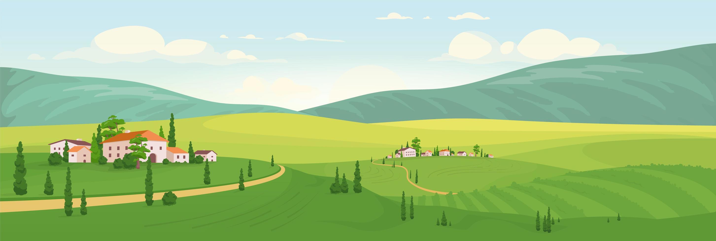 paysage rural idyllique vecteur