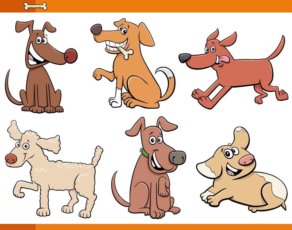 ensemble de personnages de bandes dessinées chiens et chiots vecteur