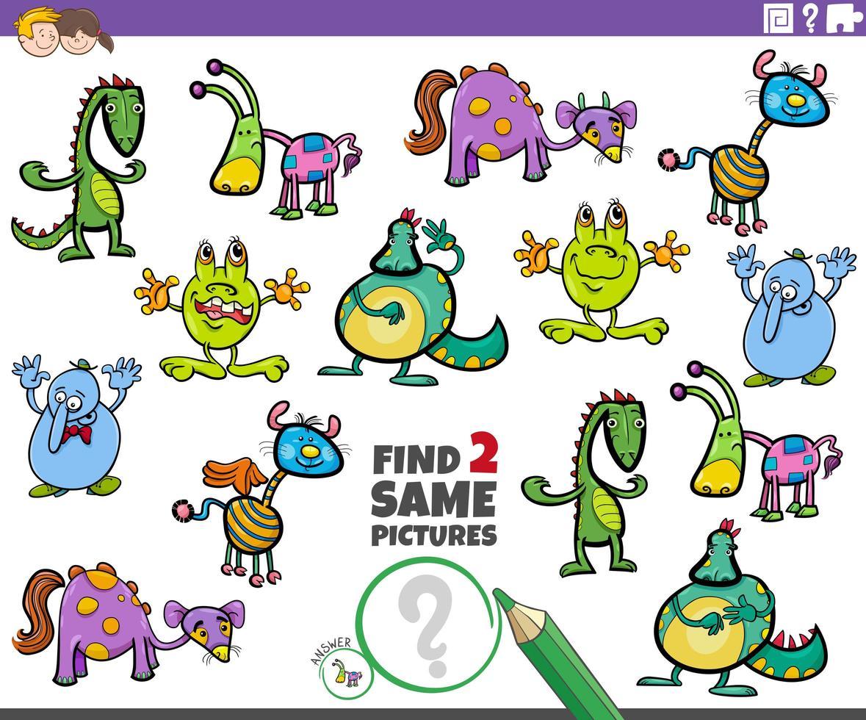 trouver deux mêmes tâches de personnages fantastiques pour les enfants vecteur