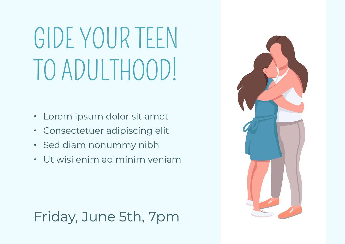guidez votre adolescent vers l'âge adulte vecteur