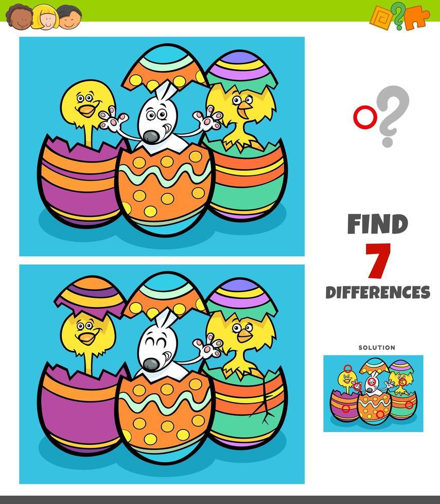 jeu de différences avec des personnages de Pâques vecteur