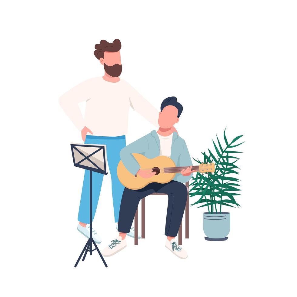leçon de guitare père fils vecteur