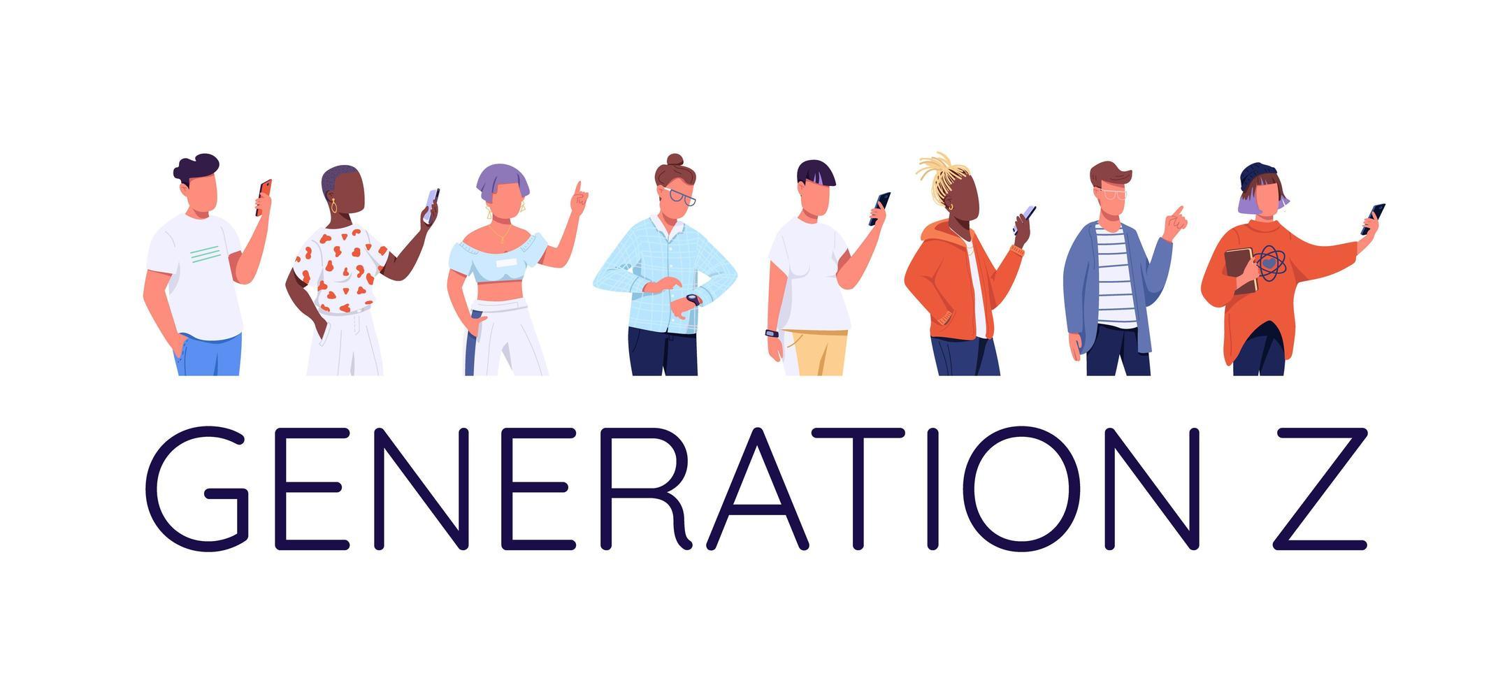 jeu de caractères de la génération z vecteur